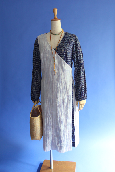 小千谷ちぢみラップ・ドレス Odiya-chidimi wrap one-piece dress