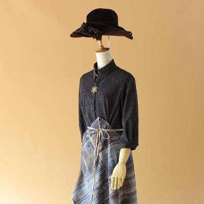 手織り結城紬エプロン・ドレス